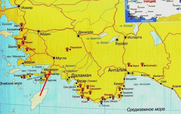 Мармарис на карте юго-западной части Турции