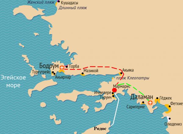 Аэропорты на карте рядом с Мармарисом