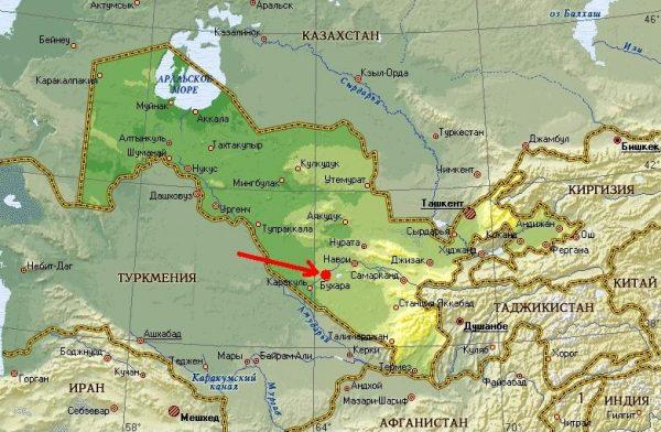 Бухара на карте Узбекистана