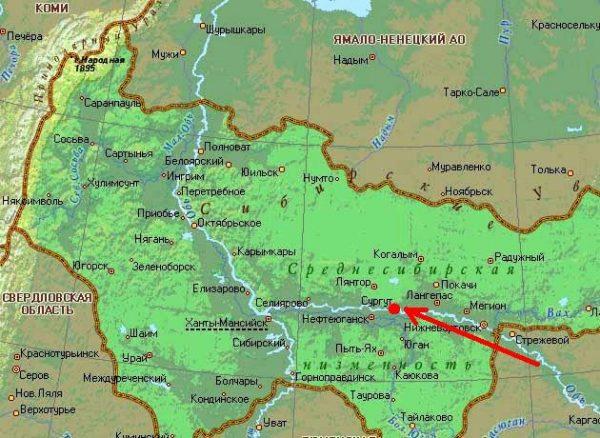 Сургут на карте Ханты-Мансийского округа