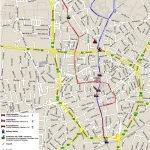 Карта с отмеченными маршрутами транспорта, идущего в центр от железнодорожного вокзала