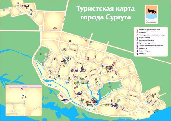 Туристическая карта Сургута