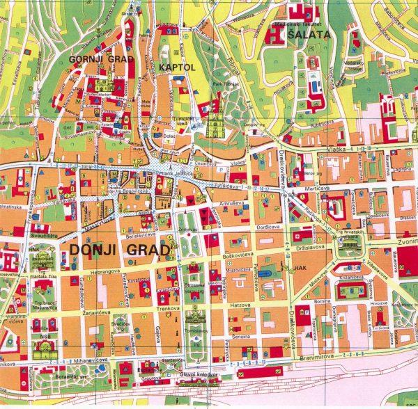 Туристическая карта Загреба
